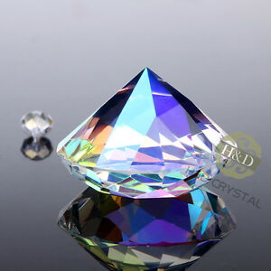 Crystal Colorful Paperweight Faceted Cut Glass Giant Diamond Decor Craft 40mm~