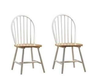 Boraam Farmhouse Chair, Set of 2, in White & Natural - 31316