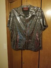 Mens Vintage Disco Shirt- Metallic-Black and Silver,highly reflective-X-Large
