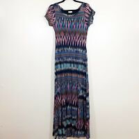 Weston Size L Womens Short Sleeved Black Printed Scoop Neck Lined Maxi Dress