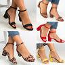 Ladies Open Toe Ankle Strap Sandals Buckle Block Heel Leopard/Solid Party Shoes