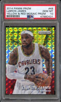 💎2014-15 LeBron James PRIZM YELLOW RED MOSAIC REFRACTOR #48 PSA 10 BGS lakers