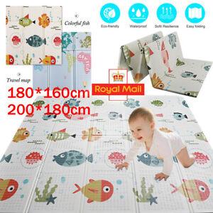 2 Sides Cartoon Baby Mat Foldable Crawling Waterproof Play Pad Soft Foam Carpet