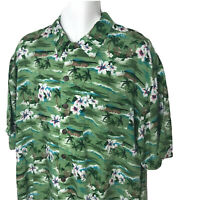 Utility Men's Hawaiian Aloha Camp Shirt Large Green Palms Rayon Tropical Cruise
