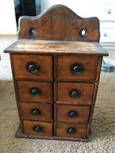 Antique Wooden 8 Drawer Spice Cabinet Box Authentic Farmhouse