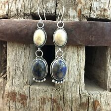 Lapis Earrings by Elle Curley-Jackson *New* Fossilized Coral and Denim
