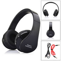 Foldable Wireless Bluetooth Stereo Headset Handsfree Headphones Mic For PC BK