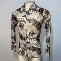 Vtg 60s 70s HANG OUT Disco Shirt All Over Nylon Boogie Nights Groovy Mod MENS XL