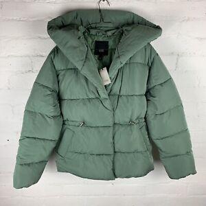 River Island Shawl Collar Short Green Padded Coat UK12