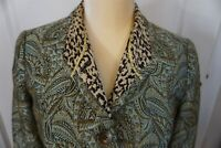 Chico's 0 Blazer Jacket Blue Brown with Gold Shimmer Tapestry Animal print