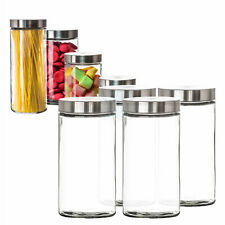 4er Set Vorratsgläser 1,7L mit Edelstahldeckel Aufbewahrungsglas Behälter Pasta