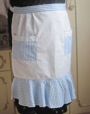 WHITE COTTON AND BLUE & WHITE STRIPES DESIGN WITH FRILL HALF APRON / PINNY
