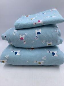 Pillowfort Full Sheet Set Lama Flannel Blue Warm Cozy READ FLAWS