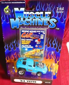 1963 BLUE VETTE, CARTOONS SERIES , 1/64 MUSCLE MACHINES, MADE IN 2002