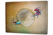 Tin Sign XXL Gothic  Fish Moon Dream World Vintage