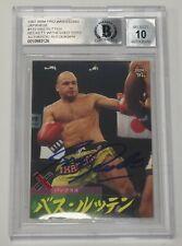 Bas Rutten Signed 1997 BBM Pancrase Wrestling Card Beckett COA Gem Mint 10 Auto