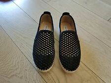 Steve Madden Persy Black Suede Loafer Espadrille; Perforated Diamond Cutouts; 8