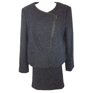 Ann Taylor Petite Navy Blue Skirt Suit Wool NWT Jacket 14 Skirt 14P