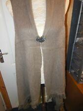 women's long gilet brooch fastening plus size