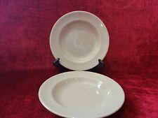 """Wedgwood China Drabware Set of 2 Rimmed Soup Bowls Older 8 1/8"""""""