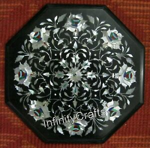 Mother of Pearl Stones Inlaid Marble Coffee Table Top Octagon Side Table 13 Inch