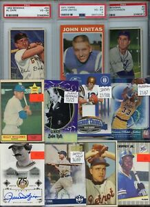 HUGE INVENTORY CLEARANCE VINTAGE ROOKIE JERSEY #'D SPORTS CARD COLLECTION LOT $$
