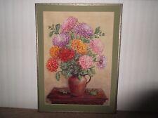 Beautiful Style PASTEL CHRYSANTHEMUM BOUQUET Fresh Flowers SIGNED ORIGINAL 21x28