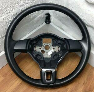 Genuine VW Golf MK6 black leather 3 spoke steering wheel 5K0419091H. Caddy   B2