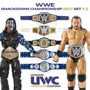 Custom WWE WWF Smackdown Championship Belts x 5 for Mattel/Jakks Figures