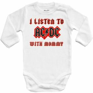 Baby bodysuit I LISTEN to AC DC with MOMMY, ROCK ACDC, One Piece jersey