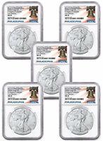 5-Pack 2020(P) 1 oz Silver Eagle Struck at Philadelphia NGC MS69 ER LibertyBell