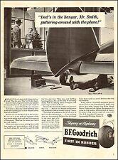 1942 WW 2 aircraft AD BF GOODRICH Airplane Tires ,Postwar Plane in Garage 072617