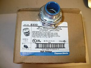 "1 pc. Thomas & Betts 5333 Liquid Tight Conduit Connector, 3/4"", Insulated, New"