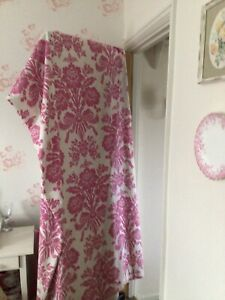Laura Ashley Tatton Curtains, Cerise Pink/Cream, Size 87in Wide  X 90in Long