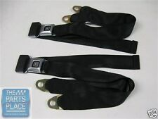 69-72 GM Cars Deluxe OE Style Lap Seat Belts - Sm. Stainless Buckle Black 1205