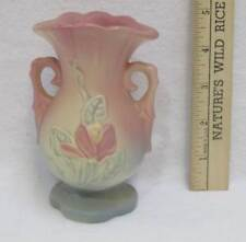 "Hull Vase Magnolia Ombre Pink Yellow Green Flowers Pottery USA Vintage 5"" Handle"