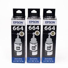 EPSON Genuine Official Ink T6641 70ml 3 Bottles Black for  L350 L365 L550 L455