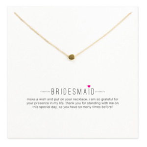 Sparkling bridesmaid circle nugget pendant necklace with gift envelope