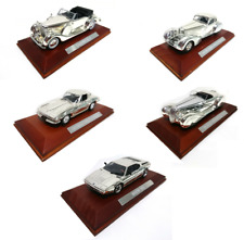 Set of 5 Silver plated model cars 1:43 Atlas - BMW Mercedes Chevrolet Chrysler