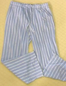 "Mens Croft & Barrow Light Blue Striped Cotton Sleep Pants Size S Lounge 26"" Ins."