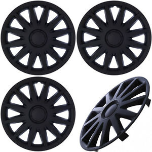 """4 PC SET Hub Cap ABS MATTE BLACK 14"""" Inch for OEM Steel Wheel Cover Caps Covers"""