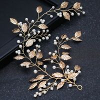 Elegant Women Pearl Vines Metal Headpiece Clip Leaf Tiara Headband Bridal Hair