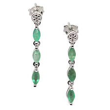 De Buman 925 Silver 1.52ct Emerald & White Diamond Noble Wedding Dangle Earrings