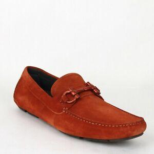 Salvatore Ferragamo Men's Parigi Rust Red Suede Horsebit Loafer 651084