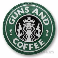 VINYL MORALE PATCH VELCRO PANEL RUBBER 'COFFEE AND GUNS'  STARBUCKS