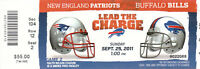 2011 NFL PATRIOTS @ BILLS FULL UNUSED FOOTBALL TICKET