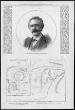 1877 ANTIQUE PRINT-Portraits Dr Schliemann Explorer Troy Mycènes Plan (115)