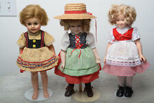 Shirley Temple Heidi Dolls Lot of 3- 14 inch dolls 57' 87' & 96