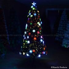 6ft Pre-Lit Fiber Optic Christmas Tree LED Snowflake Xmas Home Decorations 180cm