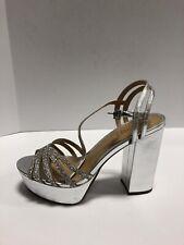 Schutz Viviana Platform Heel Womens Sandal Silver 7 M